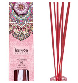 Karma Scents 40 Sticks with Jeweled Incense Holder Rose