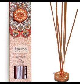 Karma Scents 40 Sticks with Jeweled Incense Holder Patchouli