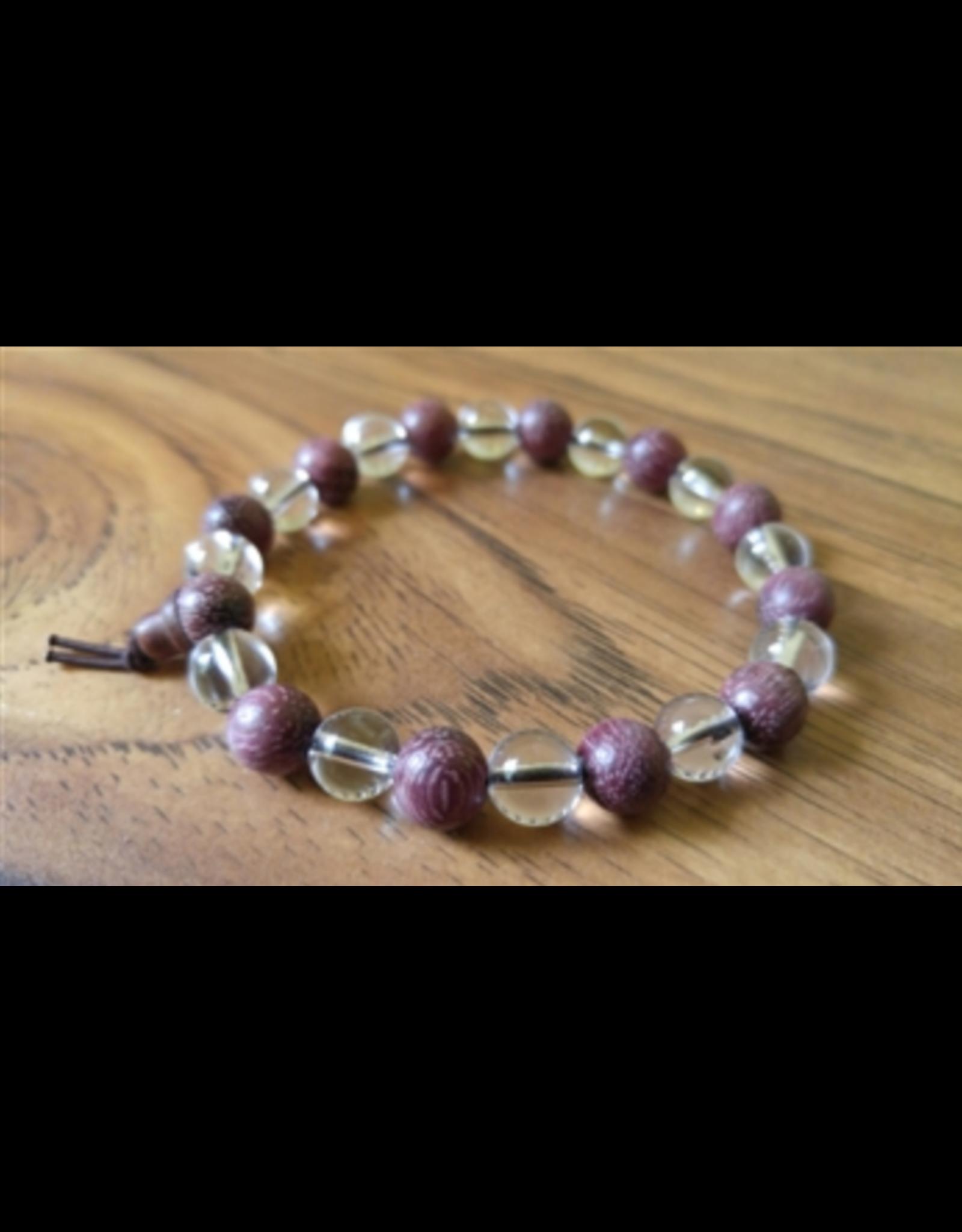 Crystal and Purpleheart Wood Mala