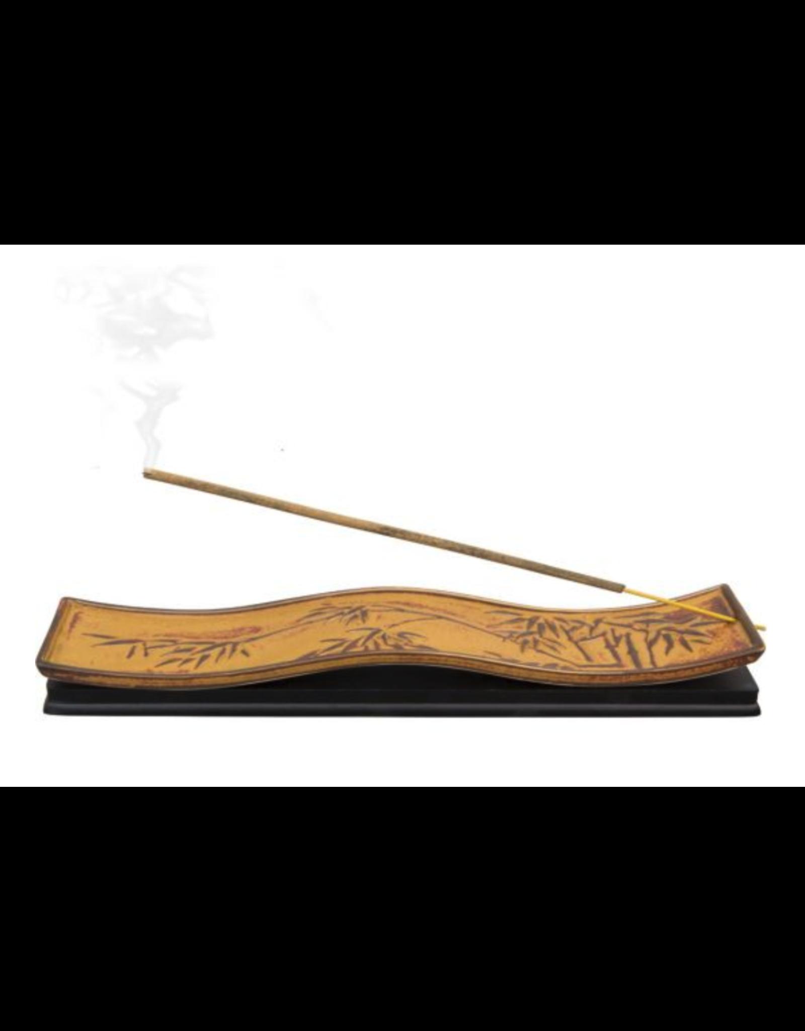 Bamboo Leaves Ceramic Incense Stick Burner