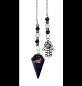 Hexagonal Pendulum Blue Tigers Eye Fatima Hand