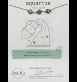 Zodiac Necklace Moss Agate - Aquarius SoulKu
