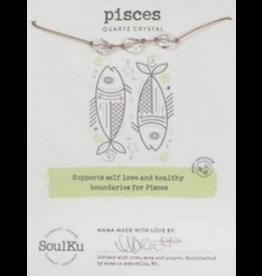 Zodiac Necklace Clear Quartz - Pisces SoulKu