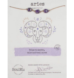 Zodiac Necklace Amethyst - Aries SoulKu