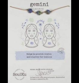 Zodiac Necklace Azurite - Gemini SoulKu