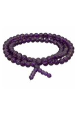 Gemstone Elastic Mala Prayer Bracelet - Amethyst