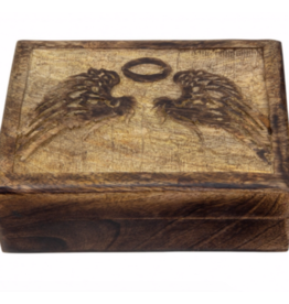 Carved Wood Box - Angel Wings