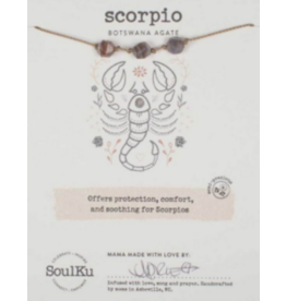Zodiac Necklace Botswanna Agate - Scorpio
