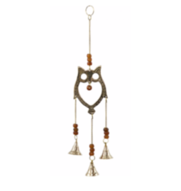 Brass Owl Hanging Bells-Small