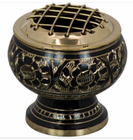 Charcoal Brass Burner Flower Engraved Small w/ Grid-Black