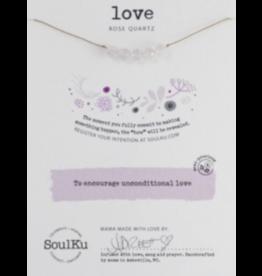 Rose Quartz Intention Necklace for Love-5 Bead SoulKu