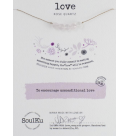 Rose Quartz Intention Necklace for Unconditional Love-5 Beaded UNCONDITIONAL LOVE