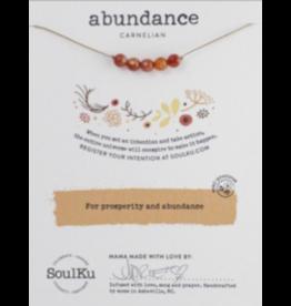 Carnelian Intention Necklace for Abundance - 5 Bead SoulKu