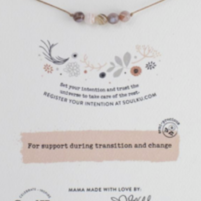 Botswana Agate 5 Bead Intention Necklace for Change- SoulKu