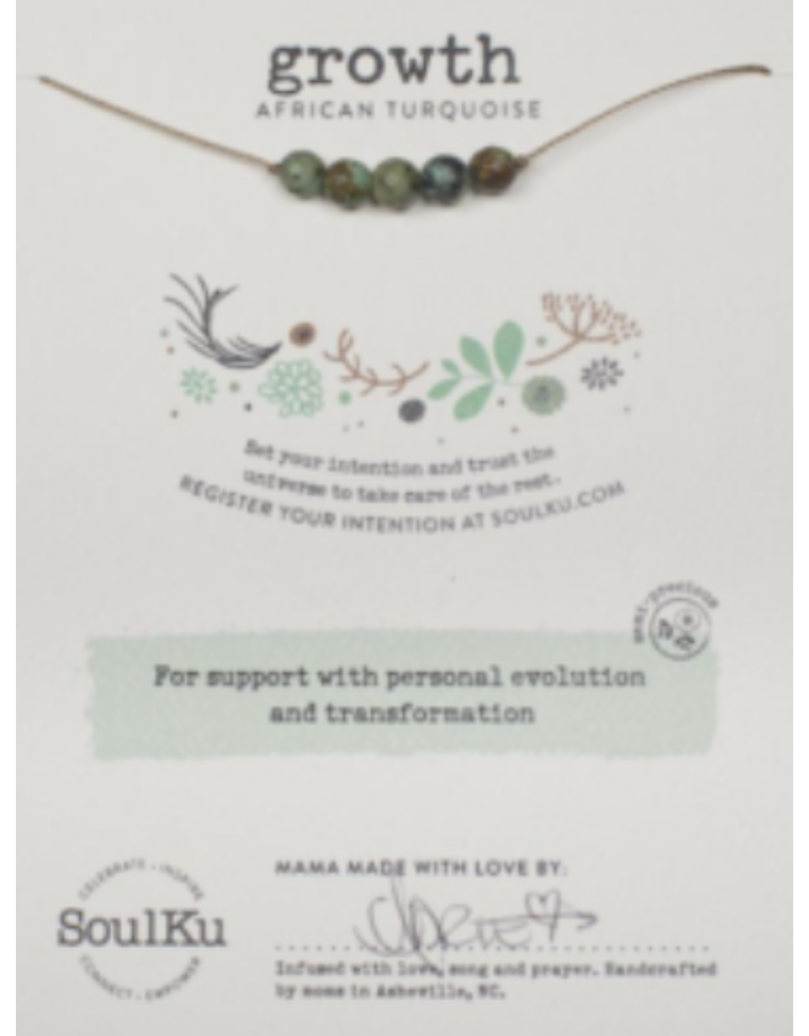 African Turquoise Intention Necklace for Growth -5 Beads SoulKu