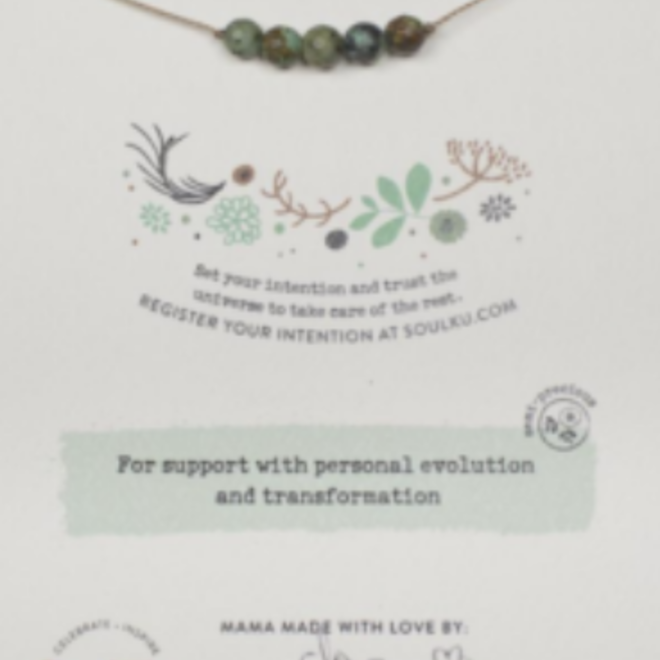African Turquoise 5 Bead Intention Necklace for Growth -SoulKu