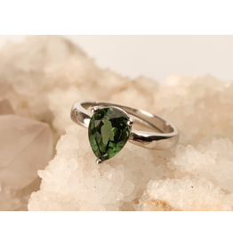Moldavite Faceted Drop Ring