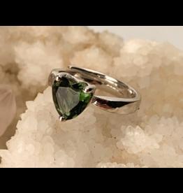 Faceted Heart Moldavite Ring - Adj