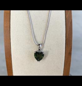 Faceted Moldavite Heart Pendant