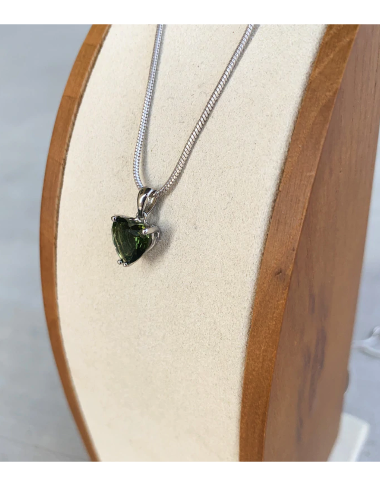 Faceted Moldavite Heart Pendant