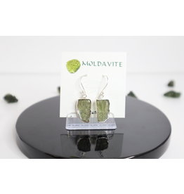 Raw Moldavite Earrings - Dangling