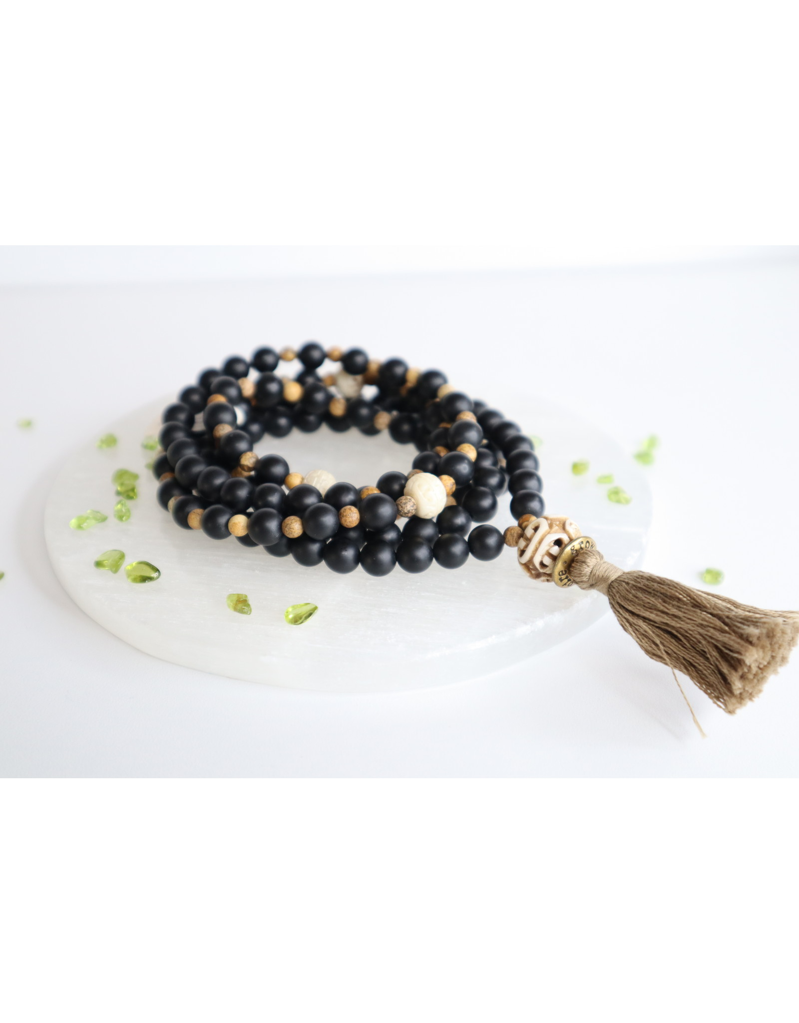 Black Onyx and Carved Bone Mala