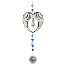 Hanging Crystal w/ Cut Glass Bead - Angel Wings