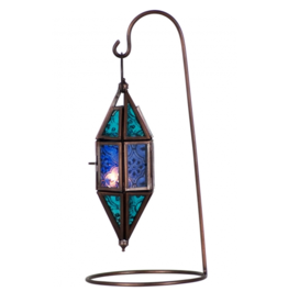 Glass & Metal Lantern Chapel Aquamarine & Blue
