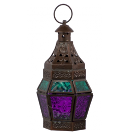 Glass & Metal Lantern Guide Turquoise & Purple