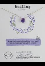 Amethyst Teardrop Necklace For Healing - SoulKu