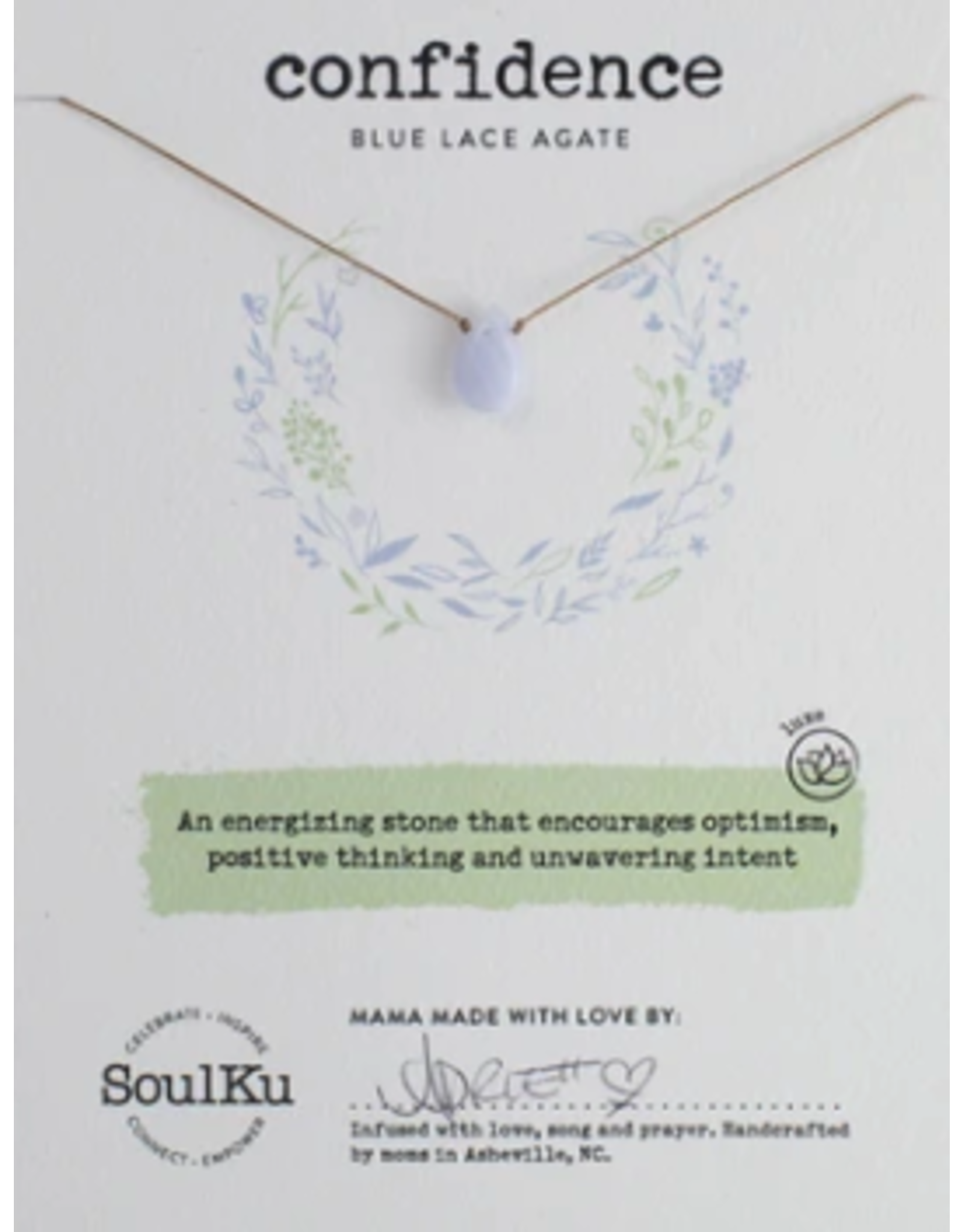 Blue Lace Agate Necklace For Confidence - SoulKu