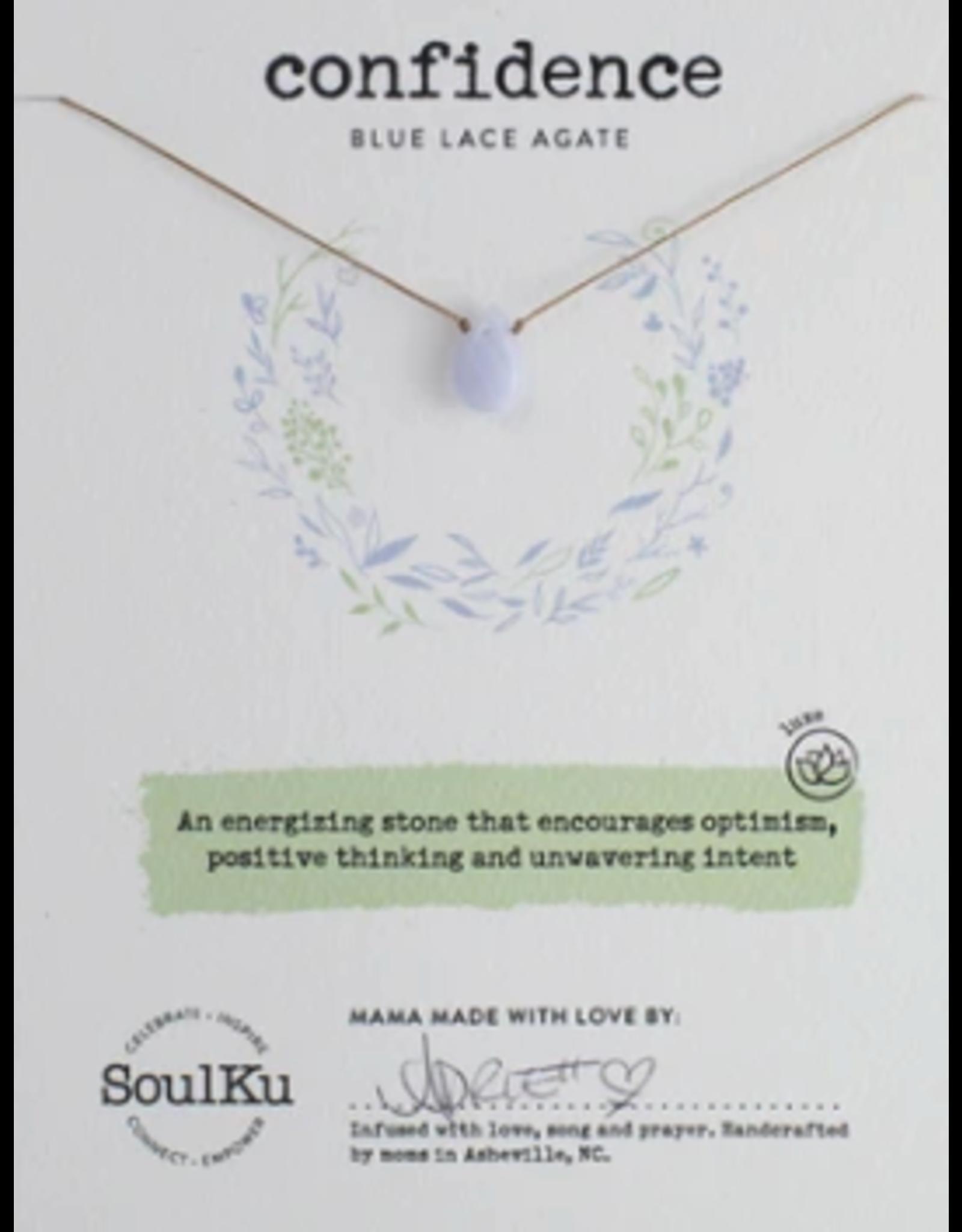 Blue Lace Agate Teardrop Necklace For Confidence - SoulKu