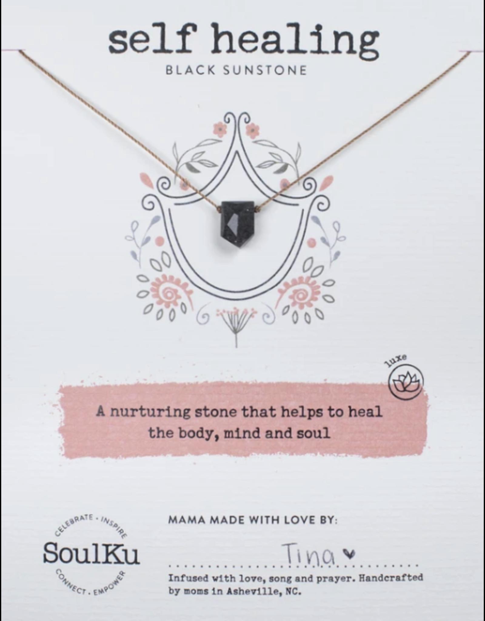 Black Sunstone Warrior Stone Necklace For Self Healing - SoulKu