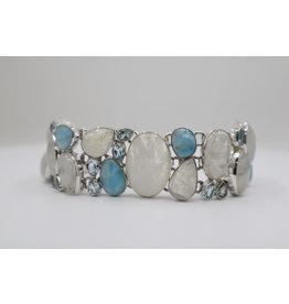 Rainbow Moonstone, Larimar, Blue Topaz Bracelet