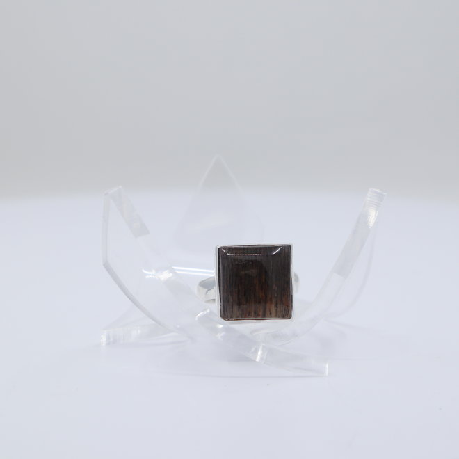 Black Sunstone Ring - Size 6 - Sterling Silver Square