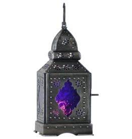 Glass and Metal Lantern Temple Purple