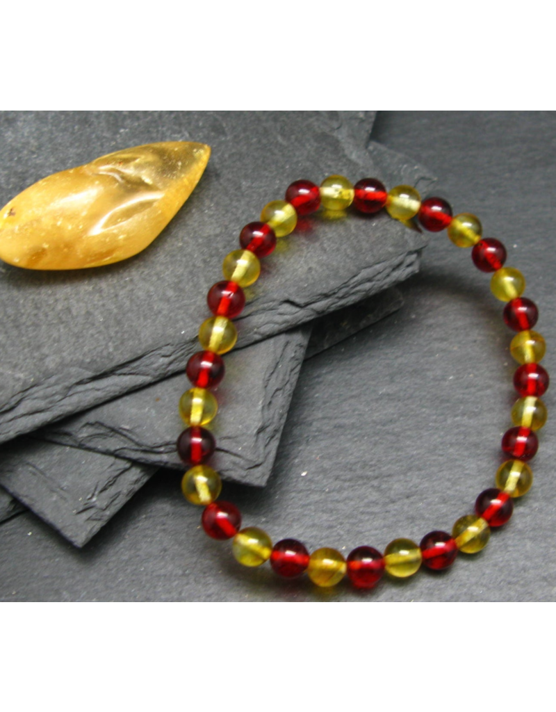 Red & Honey Baltic Amber Bracelet - 6mm