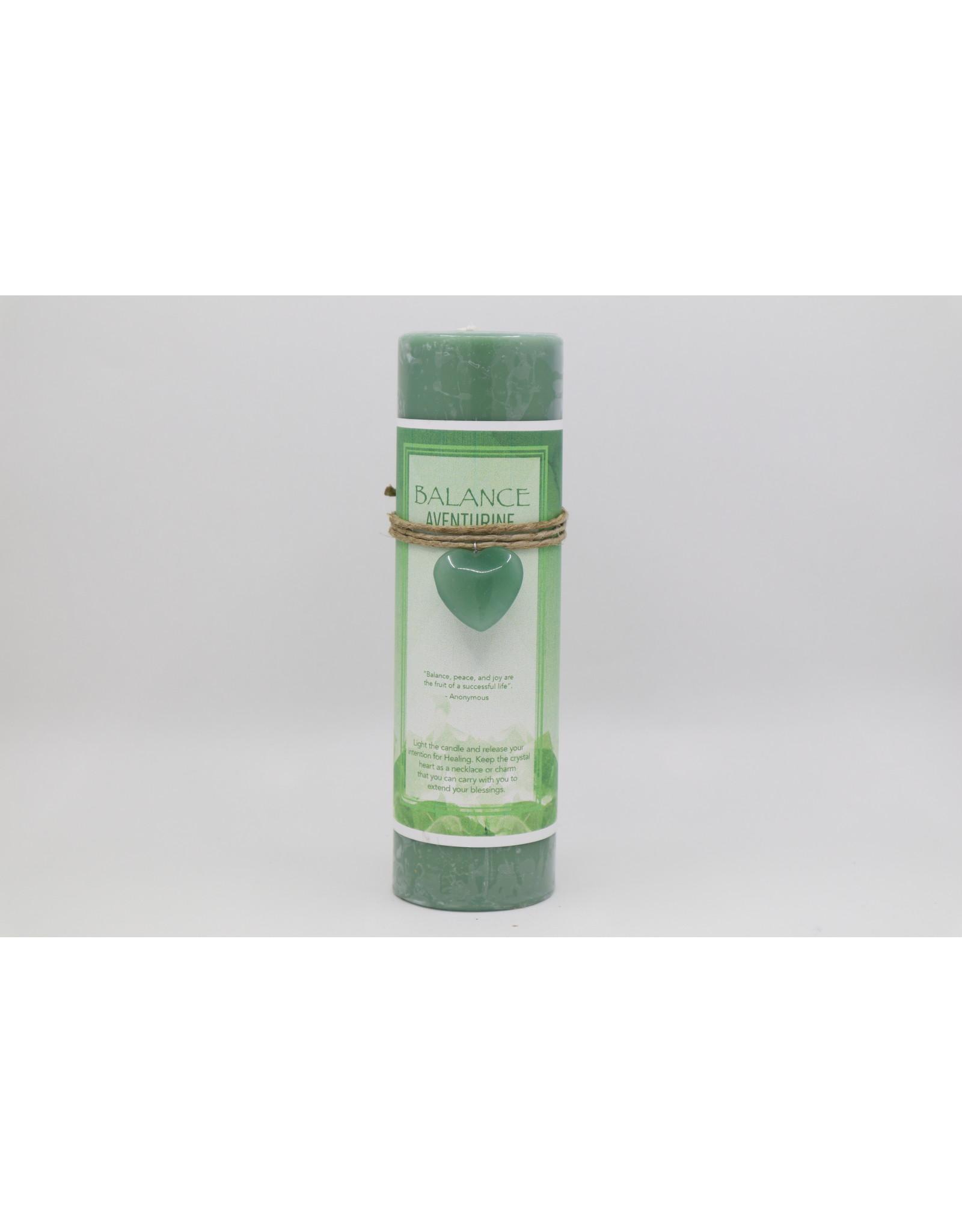 Candle -Heart Charm  - Balance, Green Aventurine