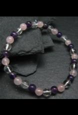 Clear Quartz, Rose Quartz & Amethyst Genuine Bracelet - 6mm