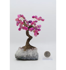 Large Pink Agate Tree on Amethyst