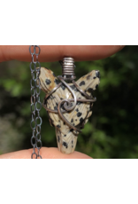 Dalmatian Jasper Wolf Amulet Pendant