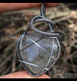 Tourmalinated Quartz Amulet