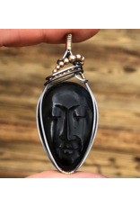 Black Buffalo Bone Carved Face Pendant