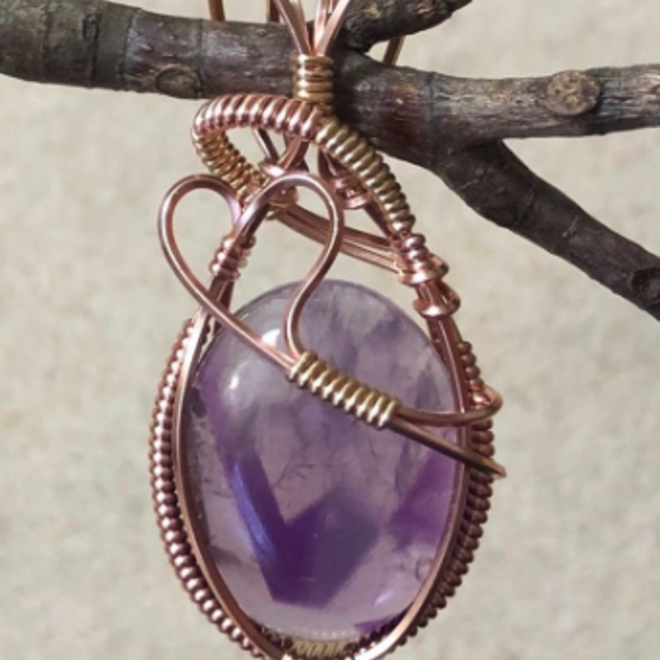 Amethyst Wire Wrapped Pendant, Amulet Rose Gold w/ Necklace