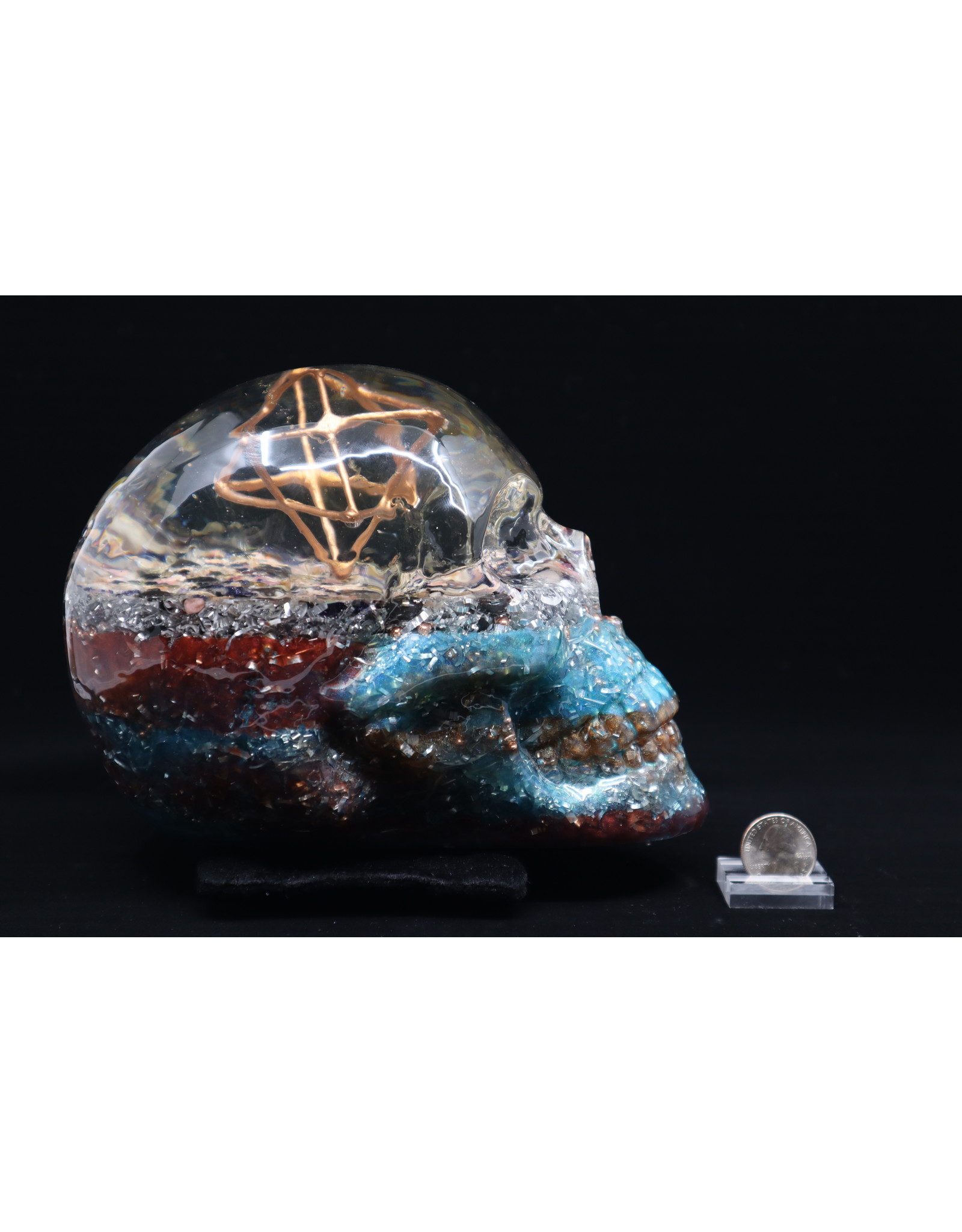 Blue/Red Orgonite Skull