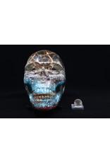 Blue/Red Orgonite Skull with Merkabah