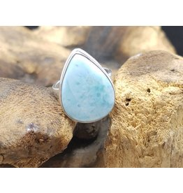 Larimar Tear Drop Ring - Size 6