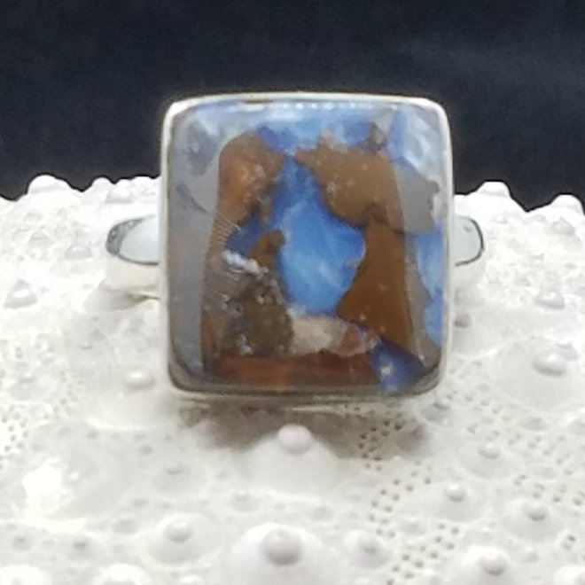 Boulder Opal Ring - Size 6.5 - Sterling Silver Square