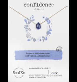 Sodalite Teardrop Necklace for Confidence - SoulKu