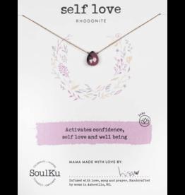 Rhodonite Teardrop Necklace for Self Love-SoulKu